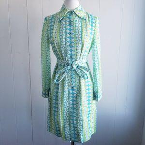 1970s Leslie Fay Floral Poly/Cotton Dress